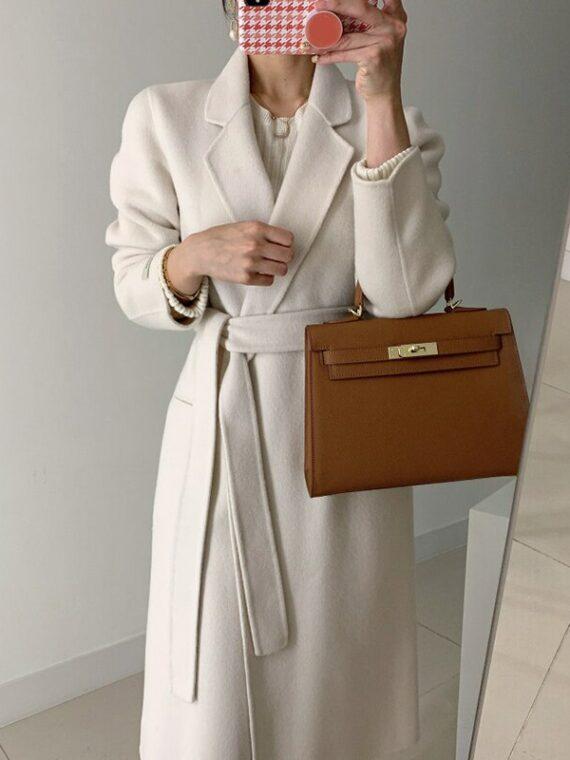 Elegancki płaszcz damski wełniany elegancki kremowy