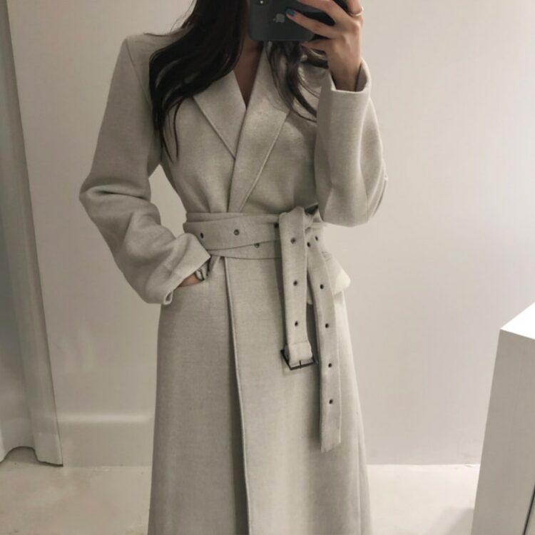 Elegancki płaszcz wełniany zimowy damski szary 1