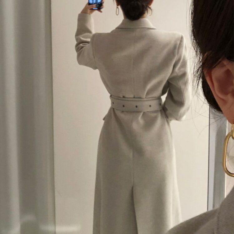 Elegancki płaszcz wełniany zimowy damski szary 2