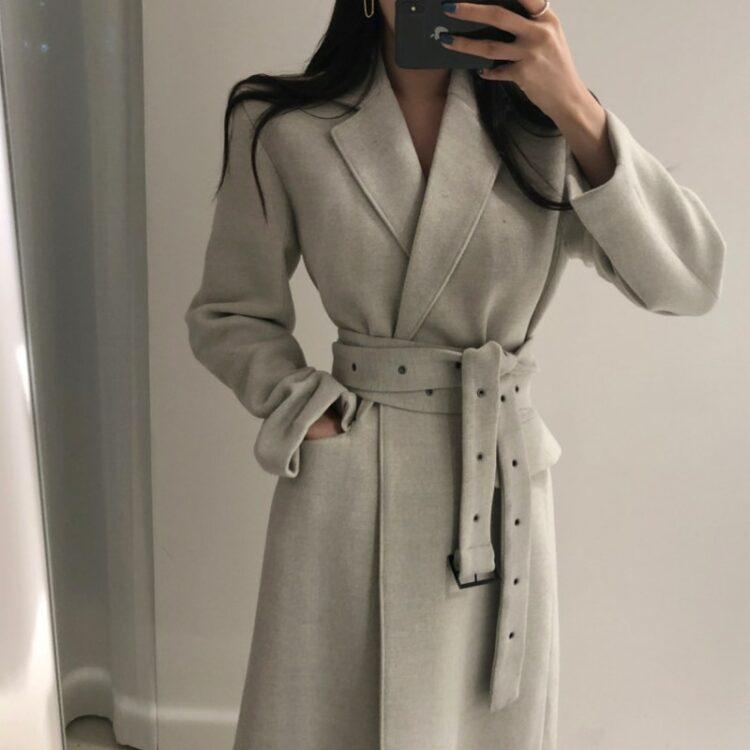 Elegancki płaszcz wełniany zimowy damski szary