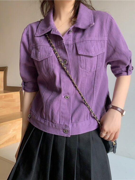 Fioletowa kurtka jeansowa z krótkim rękawem