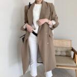 Karmelowy płaszcz wełniany damski taliowany 1