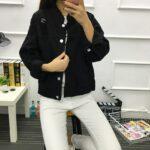 Kurtka jeansowa damska czarna o luźnym kroju