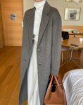 Luźny płaszcz damski zimowy wełniany szary 1