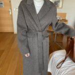 Luźny płaszcz damski zimowy wełniany szary
