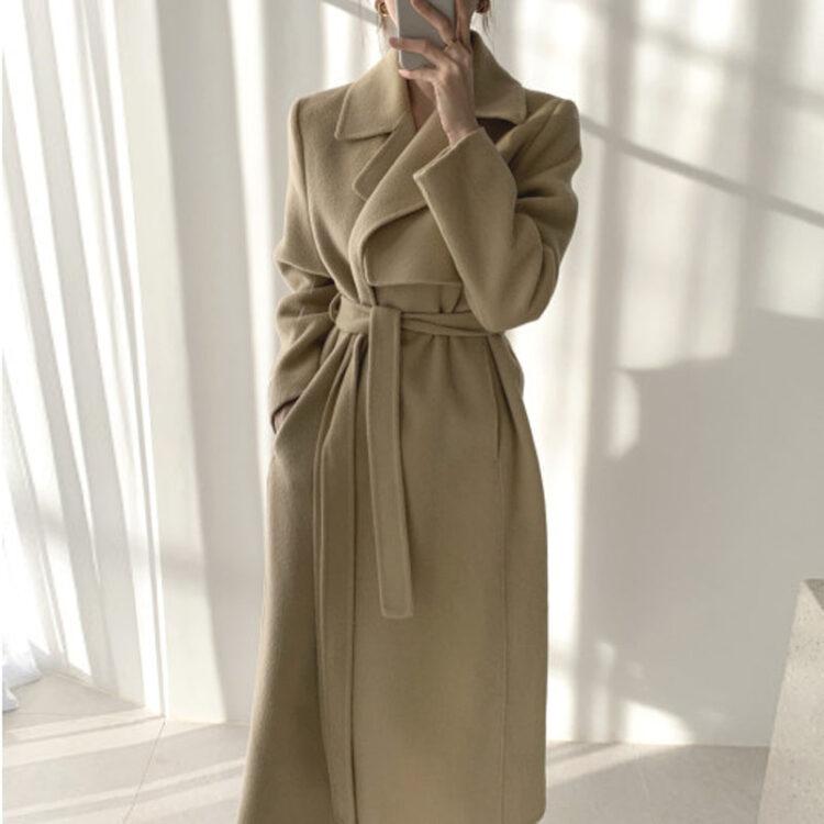 Modny płaszcz zimowy damski wełniany w kolorze khaki 1