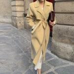Modny płaszcz zimowy damski wełniany w kolorze khaki