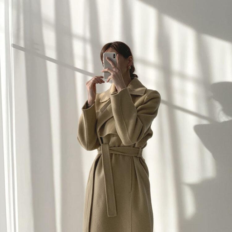 Modny płaszcz zimowy damski wełniany w kolorze khaki 2