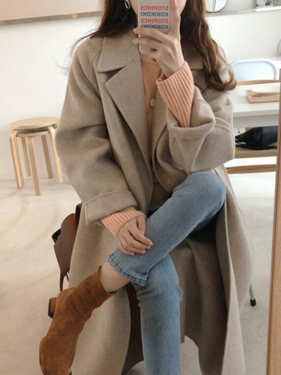 Popielaty płaszcz wełniany damski zimowy oversize