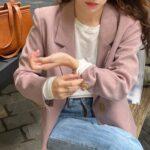 Różowa marynarka damska o eleganckim kroju 1