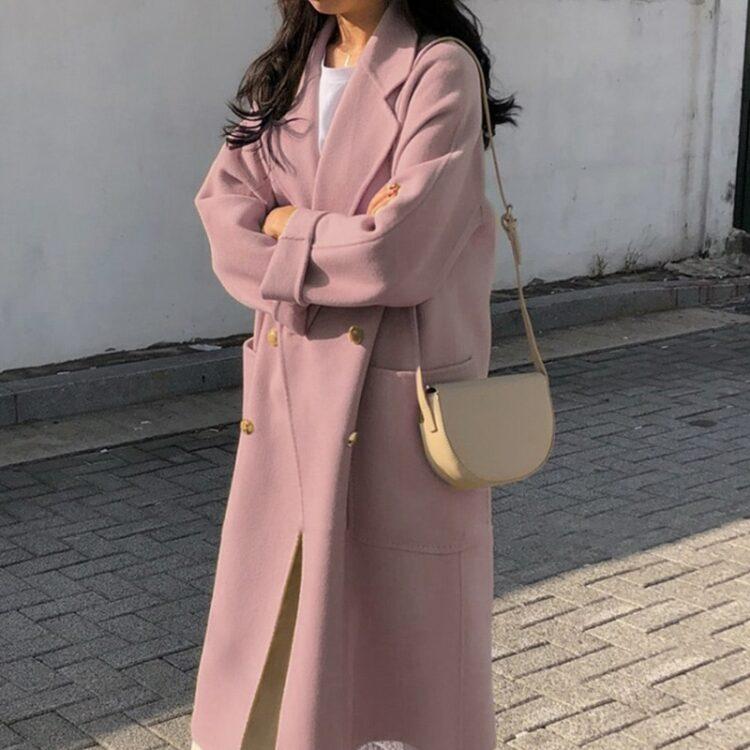Różowy płaszcz damski zimowy wełniany w stylu oversize 1