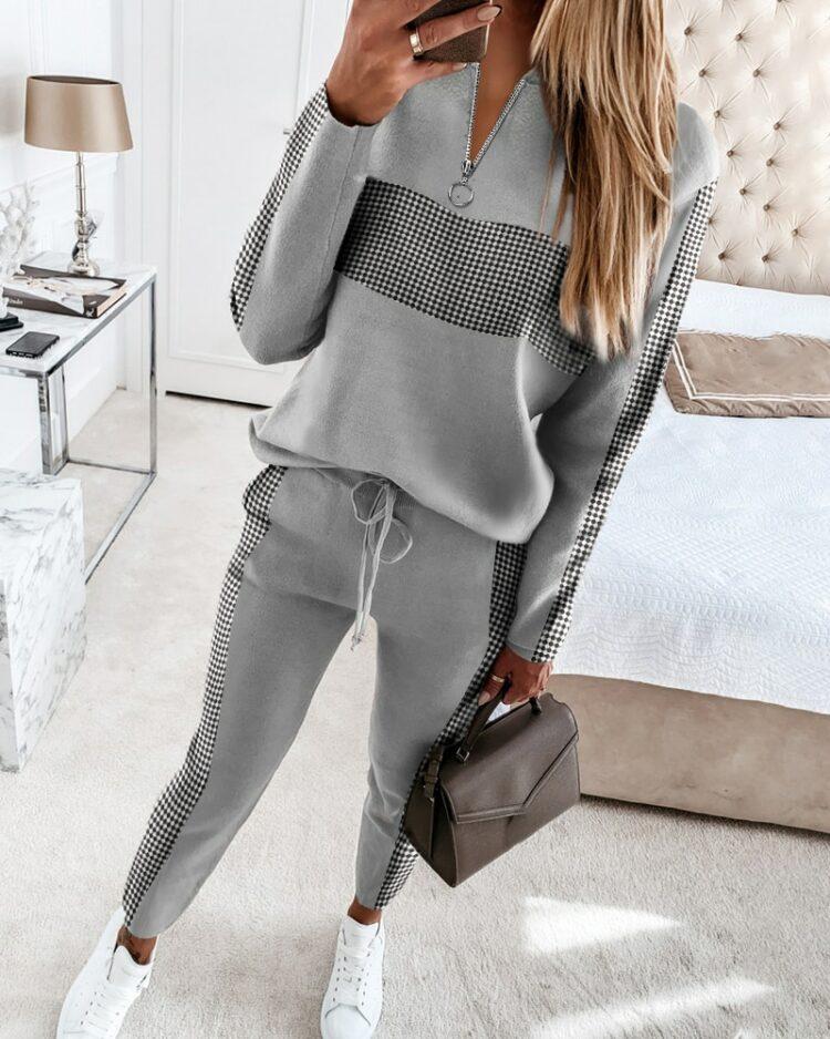 Szary dres damski z cyrkoniami na bluzie i spodniach 2