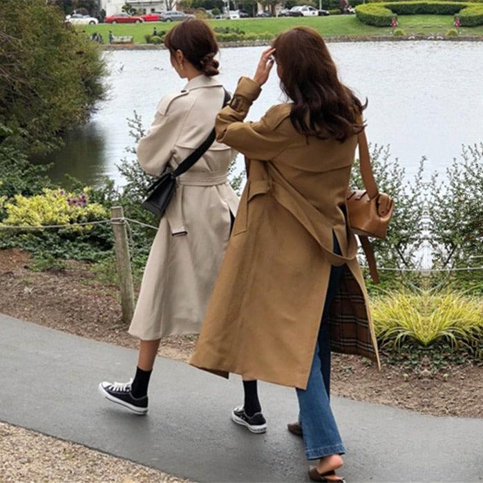Szary oversizowy płaszcz trencz prochowiec pasek 1
