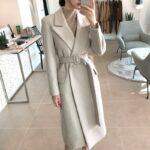 Szary wełniany płaszcz zimowy damski dopasowany 1