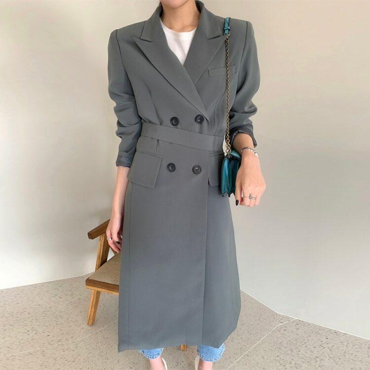 Zimowy płaszcz wełniany damski ciemny szary 1