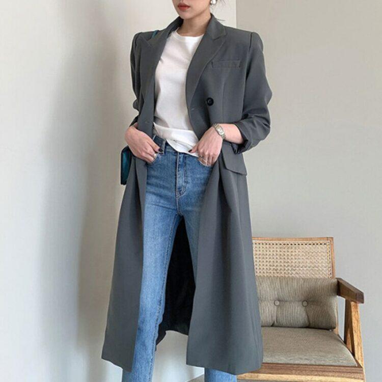 Zimowy płaszcz wełniany damski ciemny szary 2